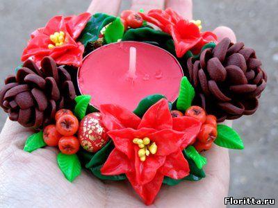 Новый год своими руками. Декоративный подсвечник из полимерной глины - Флоритта