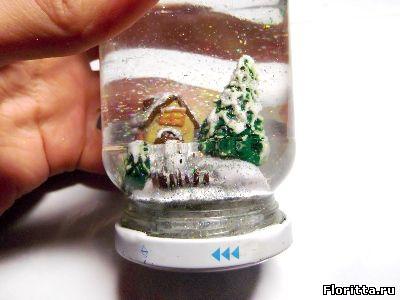 снежный шар из полимерной глины